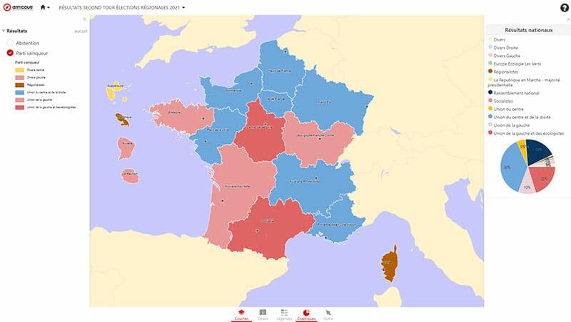 Carte du deuxieme tour de l'election régionale 2021