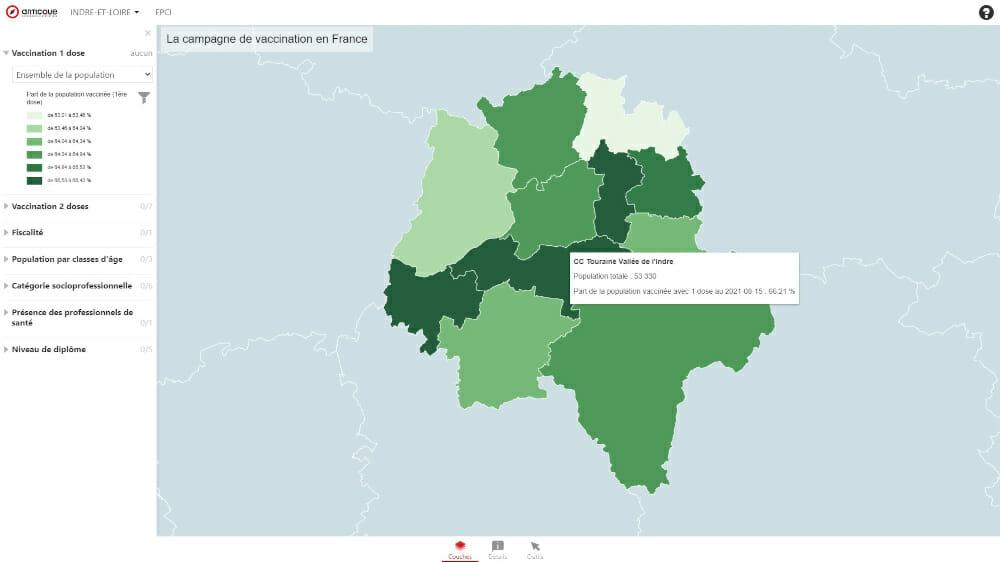 Carte de l'évolution de l'epidemie de coronavirus en France