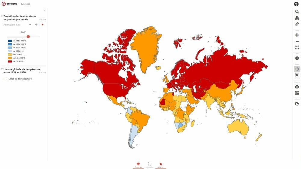 carte du rechauffement climatique dans le monde en 2000