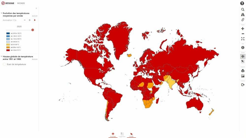 carte du rechauffement climatique dans le monde en 2020