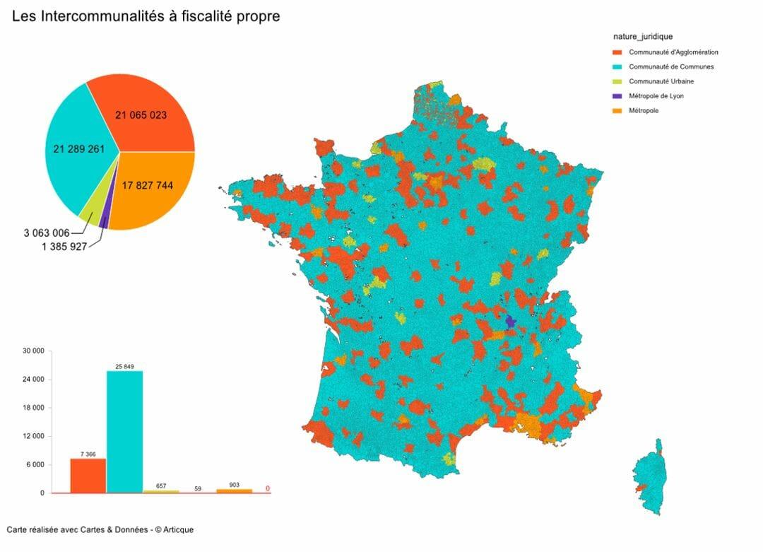 carte des intercommunalités à fiscalité propre en France