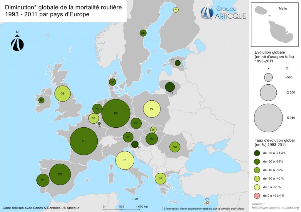 Evolution de la mortalité routière par pays d'europe - 1993/2003
