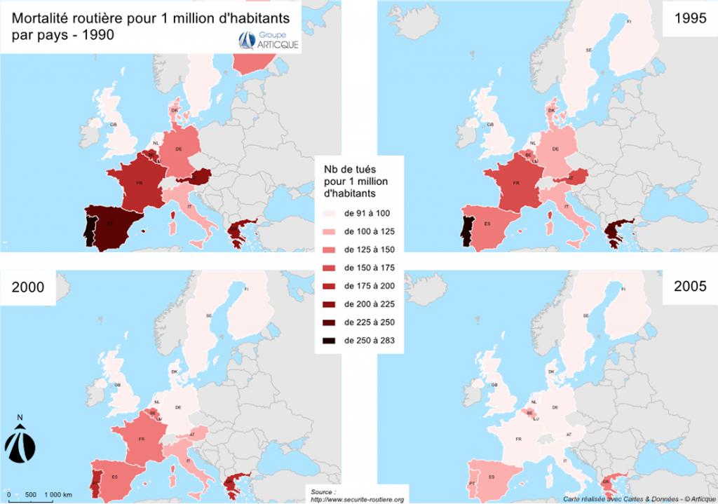 Mortalité routière par pays d'Europe 1990/2005