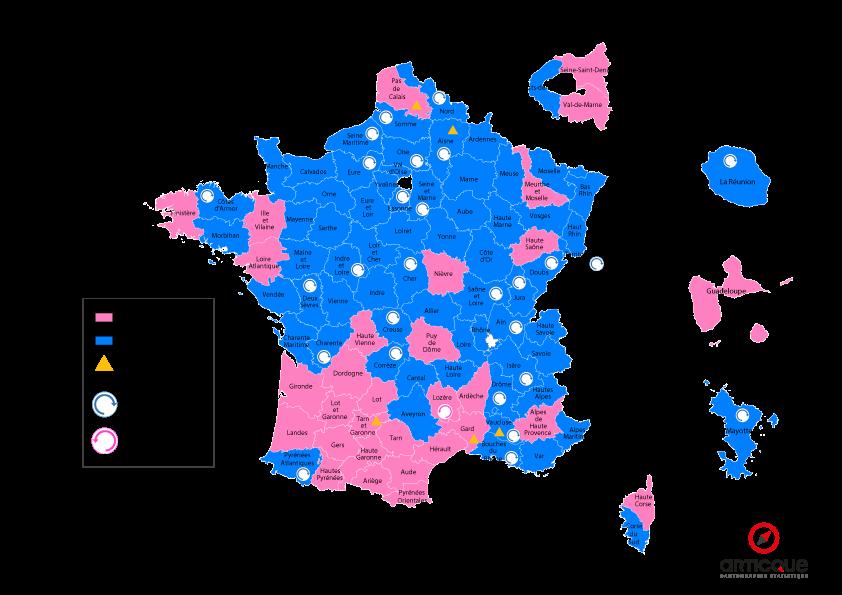 Départementales 2015 - Tour 2 : les nouvelles nuances politiques par départements