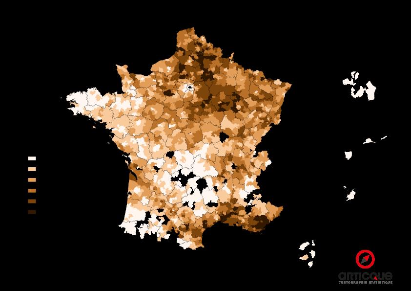 Départementales 2015 - Tour 1 : % du vote FN, par cantons