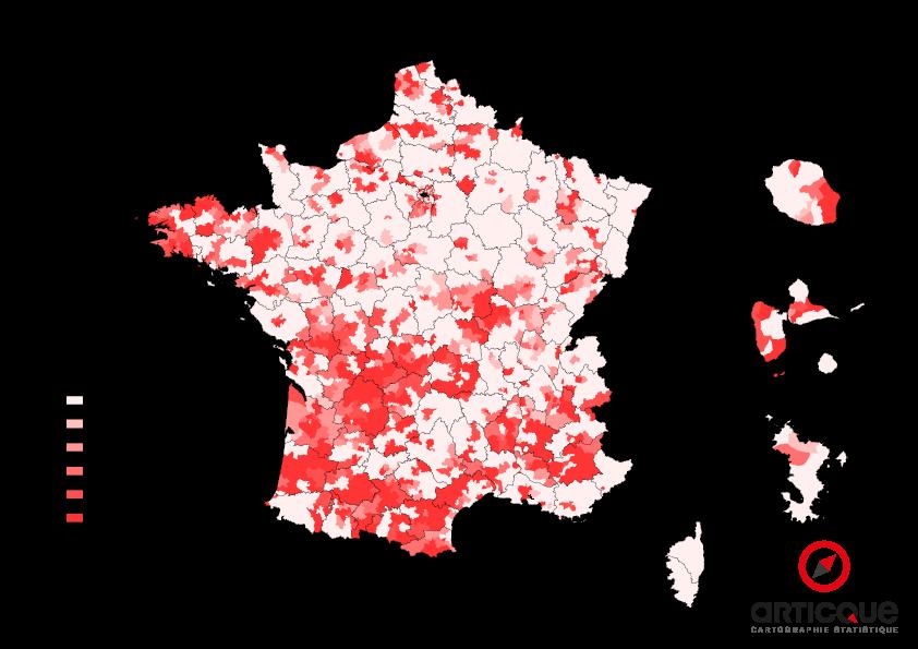 Départementales 2015 - Tour 2 : % du vote PS et Union de la Gauche, par cantons