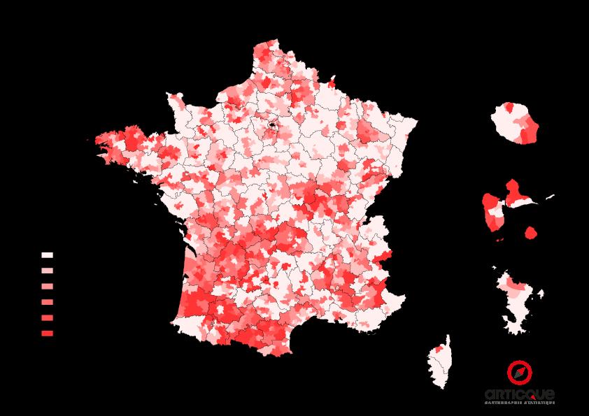 Départementales 2015 - Tour 1 : % du vote PS et Union de la Gauche, par cantons