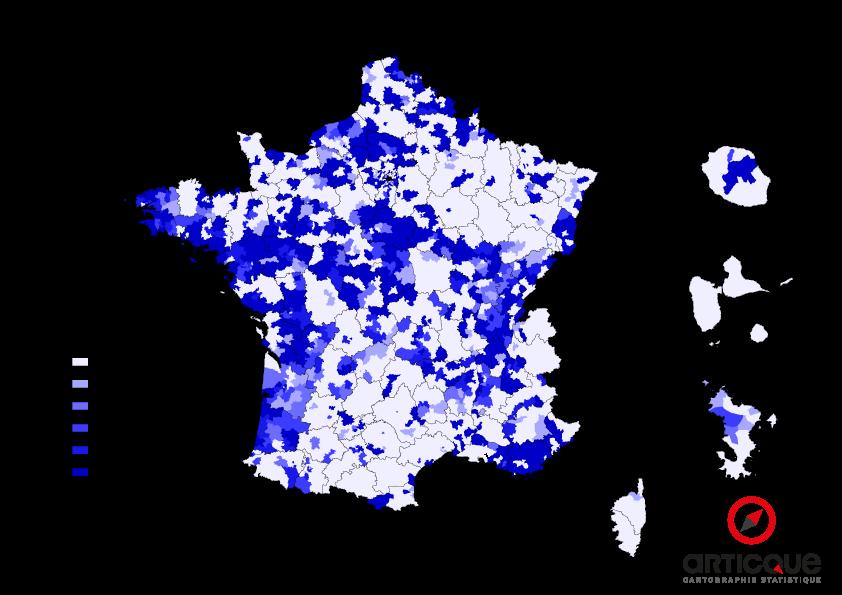 Départementales 2015 - Tour 2 : % du vote UMP et Union de la Droite, par cantons