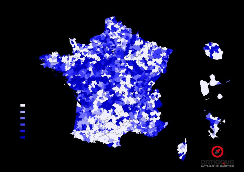 Départementales 2015 - Tour 1 : % du vote UMP et Union de la Droite, par cantons