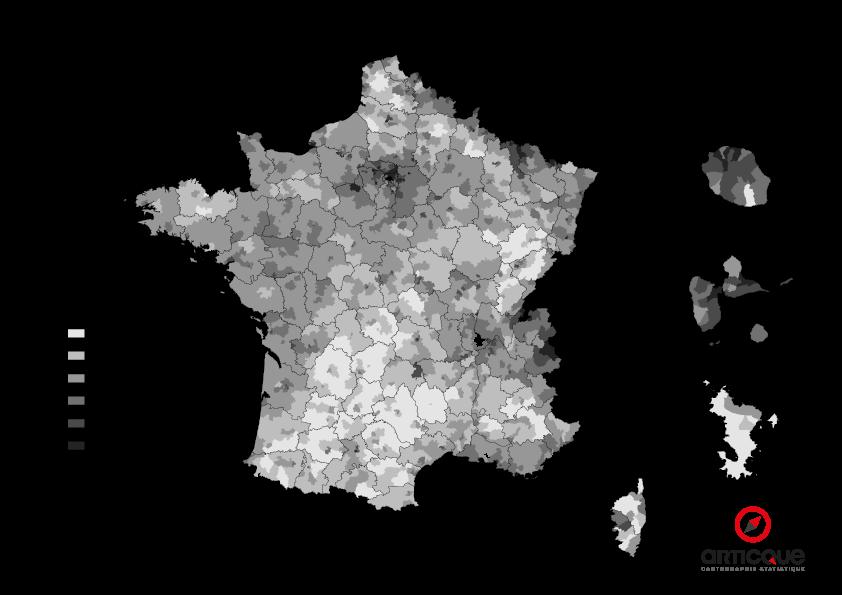 Départementales 2015 - Tour 1 : % d'abstention par cantons