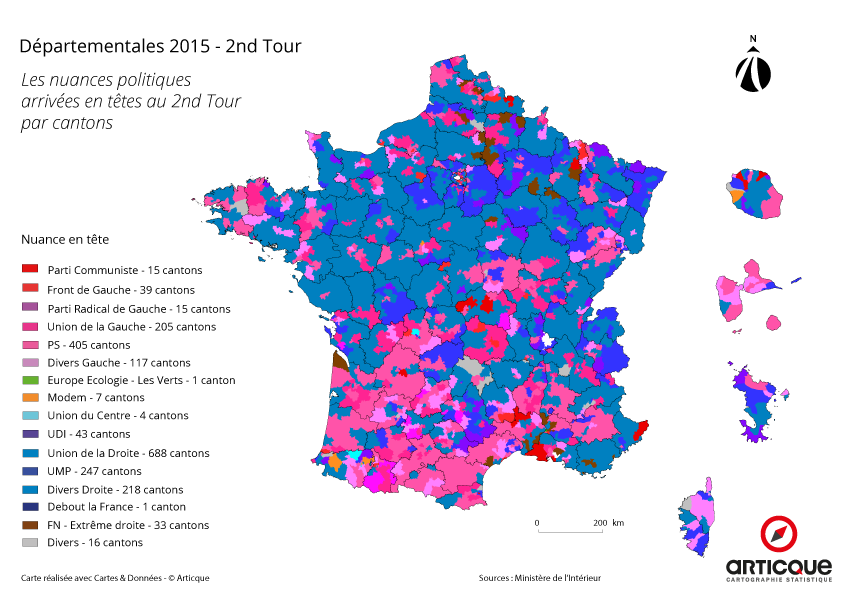 Départementales 2015 - Tour 2 : les nouvelles nuances politiques par cantons