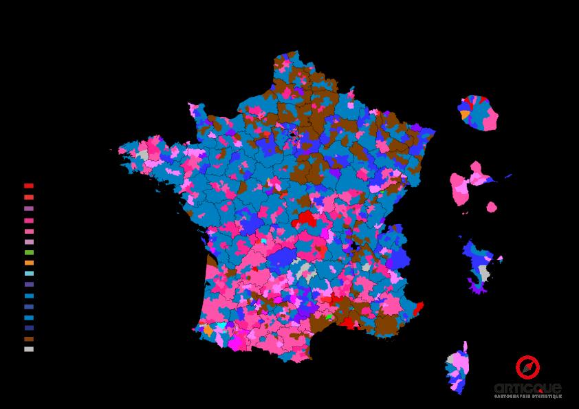Départementales 2015 - Tour 1 : les nuances politiques arrivées en têtes, par cantons